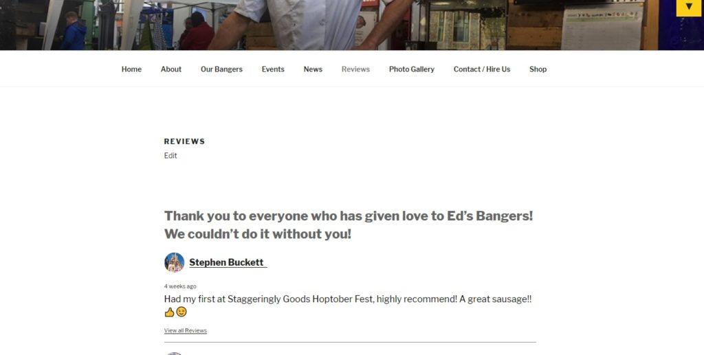 Ed's Bangers - Reviews (desktop) - screenshot