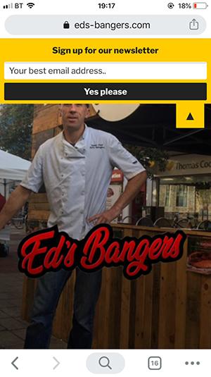 Ed's Bangers Homepage on mobile (screenshot)