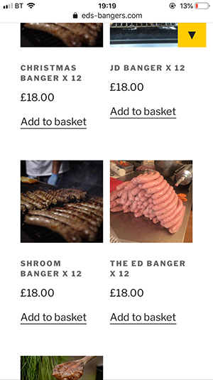 Ed's Bangers - shop page (mobile)