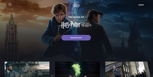 Harry Potter homepage